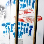 stop the war, stencil art on metal