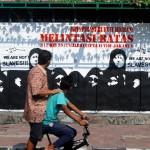 solidaritas buruh migran, stencil art on wall#1