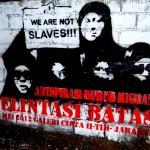 solidaritas buruh migran, stencil art on wall#3